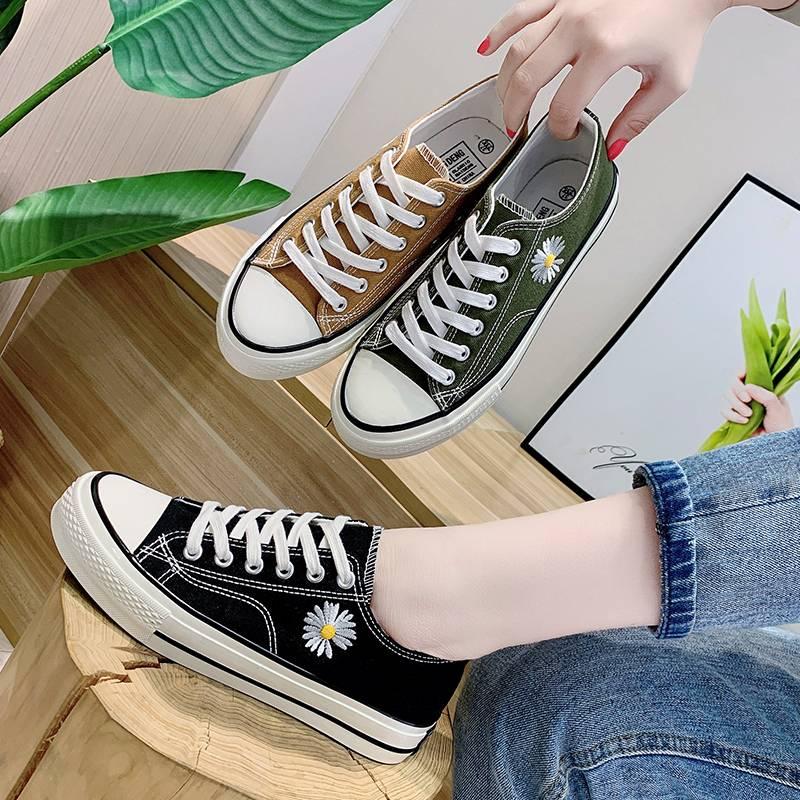 GD同款小雏菊高帮新款帆布鞋女1970s联名韩版小白鞋百搭刺绣板鞋