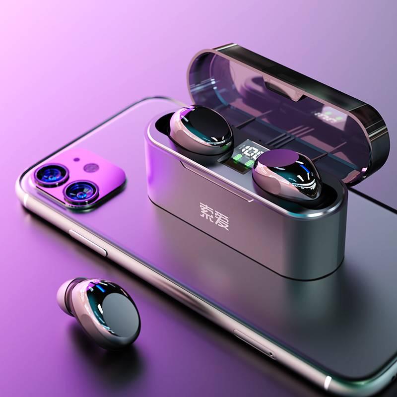 索爱真无线蓝牙耳机单双耳运动跑步健身半入耳式小型隐形5.1降噪通话苹果安卓通用OPPOX华为男女超长待机续航