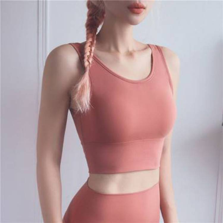 2020新款女士全包裹时尚背心式运动文胸 深U美背防震聚拢瑜伽文胸