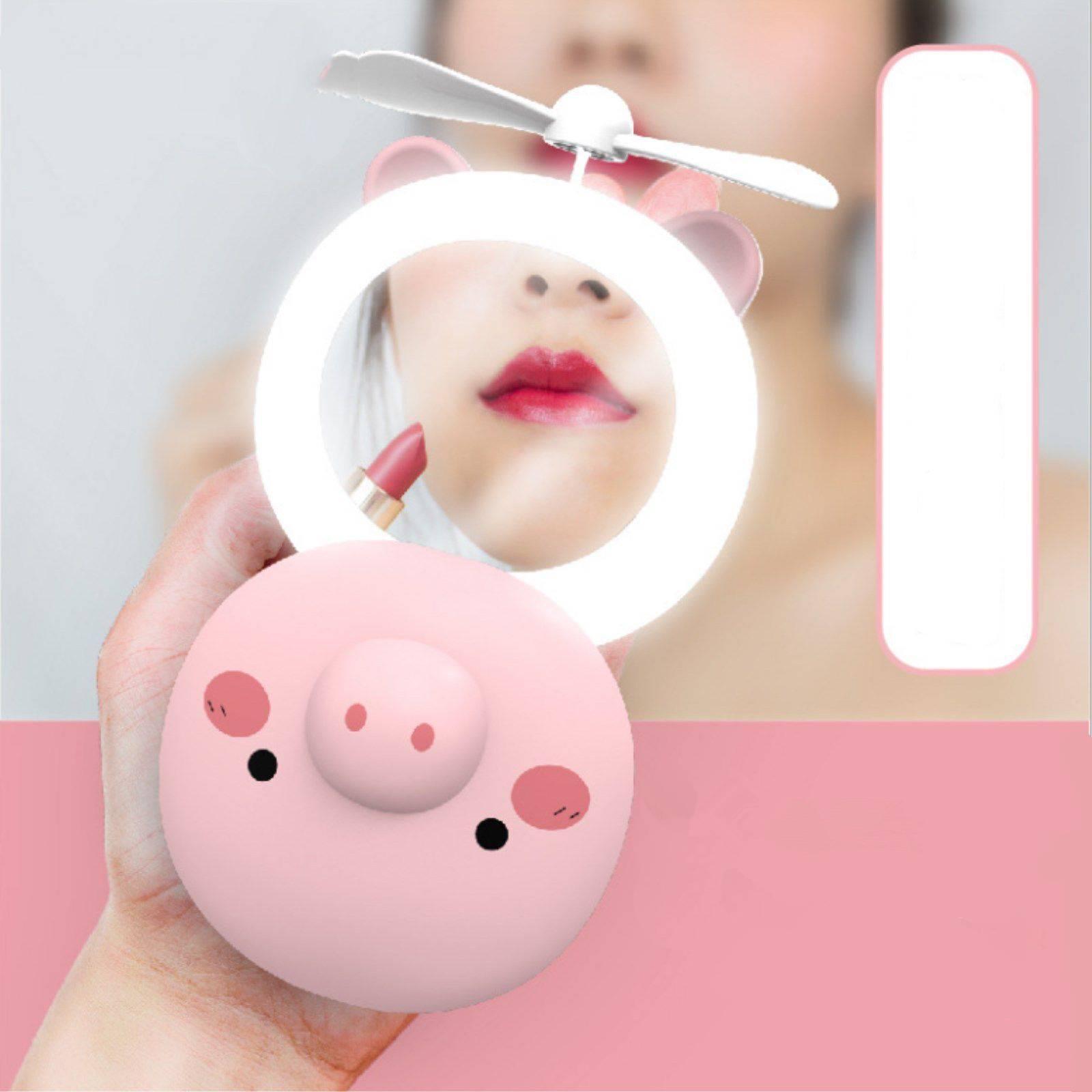 小猪抖音网红迷你风扇美妆镜USB充电LED补光灯手持便携式风扇