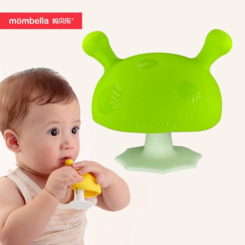 小蘑菇牙胶婴儿磨牙棒玩具妈贝乐宝宝咬咬乐磨牙神器软硅胶可水煮
