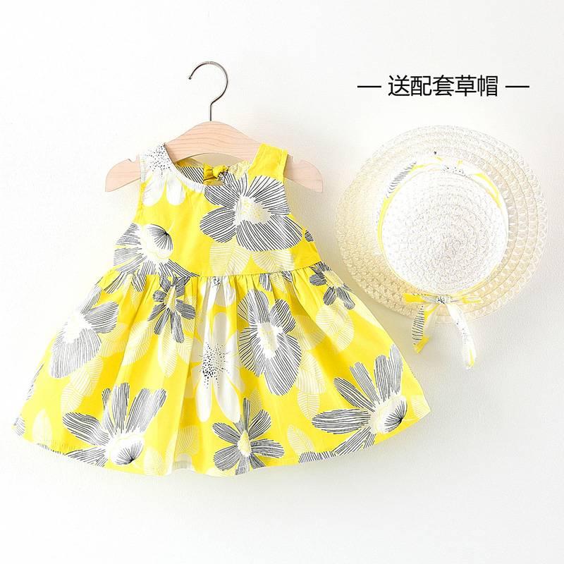 2020夏季新款女童连衣裙 背心裙吊带裙公主裙子宝宝连衣裙送草帽