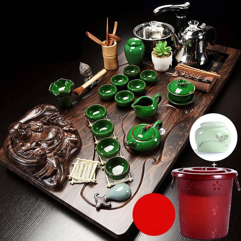 豪华全自动功夫茶具套装家用茶壶茶道茶杯智能电热炉茶台实木茶盘