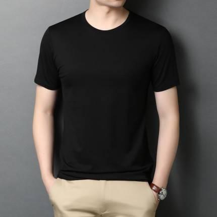 夏季新款短袖t恤男 青年圆领纯色纯棉丝光棉体恤衫薄款百搭半袖潮