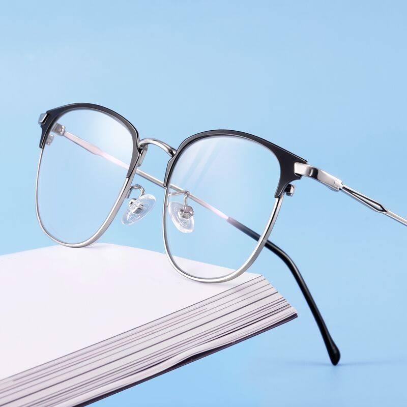 近视眼镜男潮流可配度数抗蓝光防辐射眼睛平光散光变色配眼镜框女