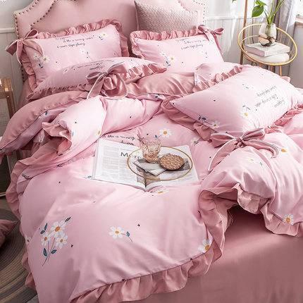 网红款床上用品四件套韩版公主风被套床裙被单被子床单三件套床品