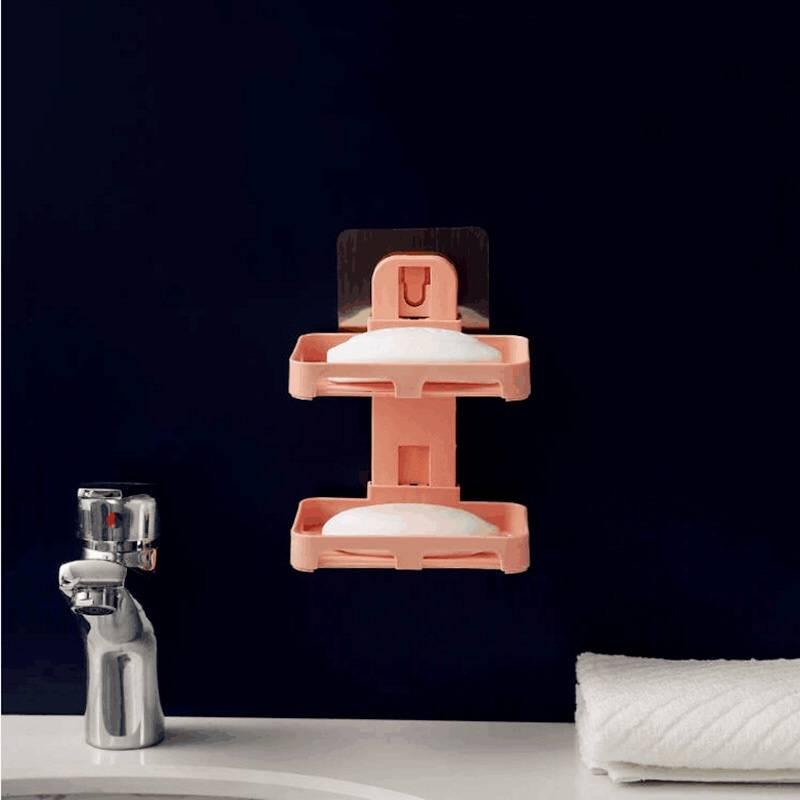 肥皂盒吸盘壁挂式家用香皂架卫生间免打孔创意沥水双层浴室置物架