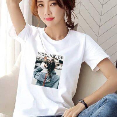 单件/两件装 2020夏季新款短袖t恤女学生韩版宽松百搭上衣白色潮