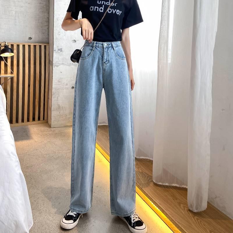 高腰牛仔裤女宽松直筒春夏2020款韩版显瘦百搭阔腿老爹薄款裤子潮