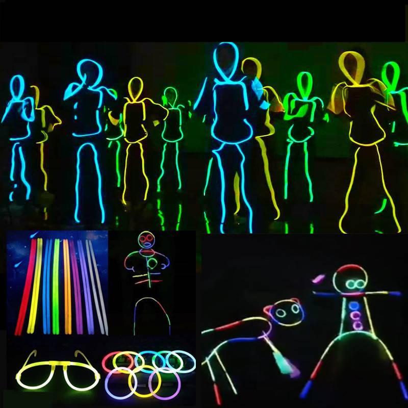 抖音荧光棒人形荧光舞20/100支装道具夜光发光手环儿童荧光玩具