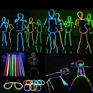 抖音熒光棒人形熒光舞20/100支裝道具夜光發光手環兒童熒光玩具