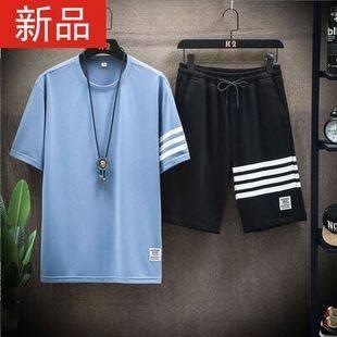 T恤夏季休閑男士短袖短褲青年運動服寬松套裝衣服男