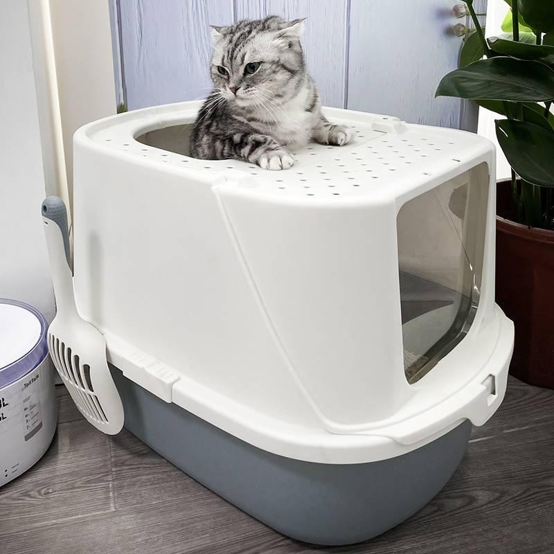 特大号猫砂盆顶入式全封闭除臭防外溅超大号防臭猫咪厕所猫咪用品