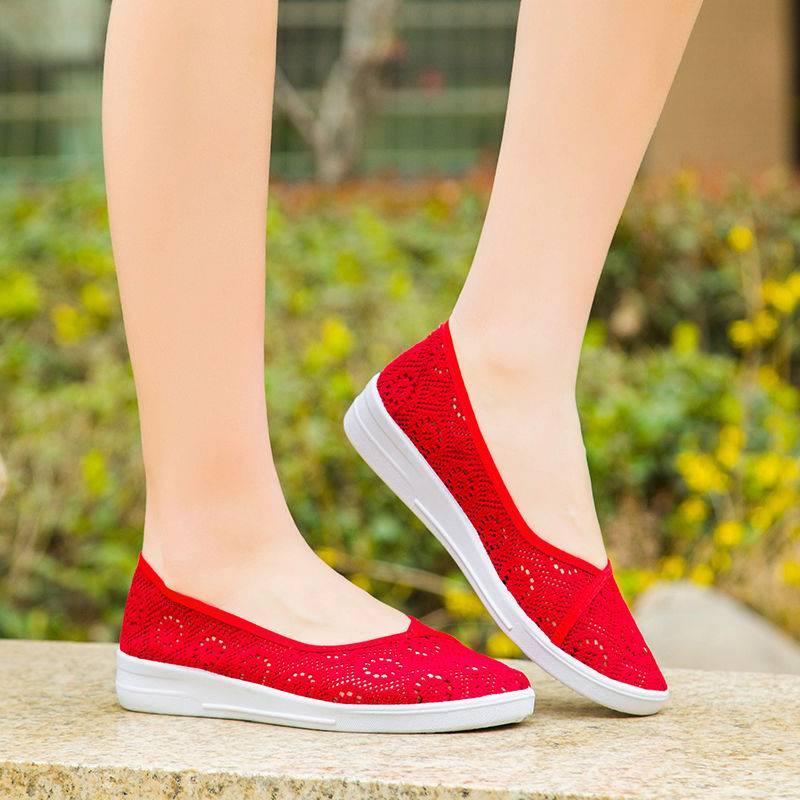 夏季老北京布鞋女中老年透气镂空网眼鞋一脚蹬软底防滑妈妈凉鞋女