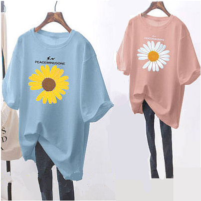单件两件短袖t恤女夏季大码女装韩版学生白色体恤中长款宽松上衣