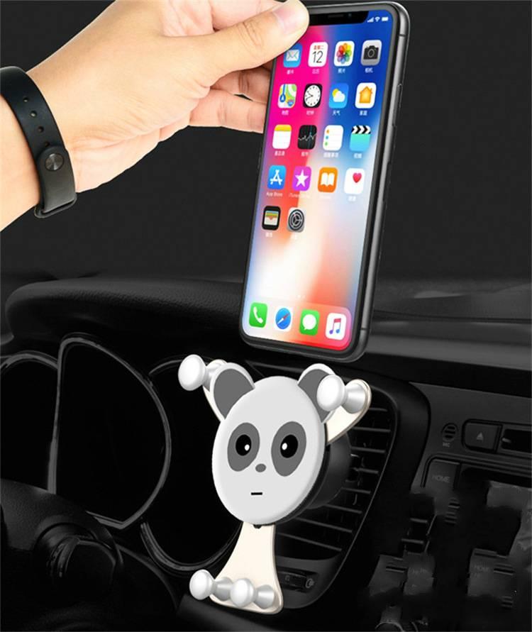 爆款空调口卡通熊猫车载手机支架 M型多功能汽车出风口导航仪支架