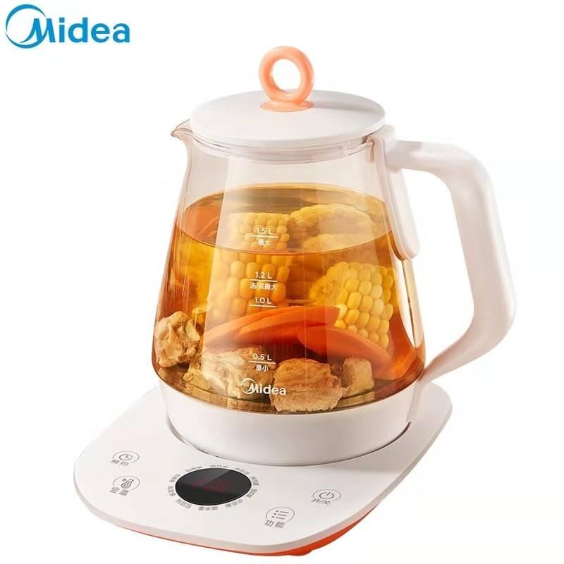 美的养生壶全自动加厚玻璃家用多功能黑茶花茶煮茶器小型电烧水壶