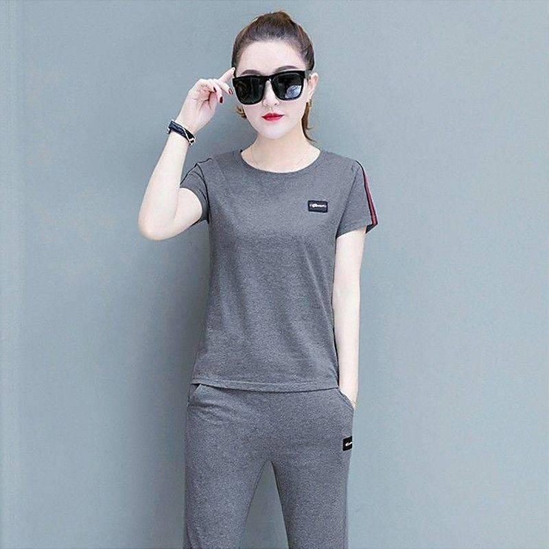 【含棉】夏季短袖七分裤休闲套装女时尚韩版大码跑步运动服两件套