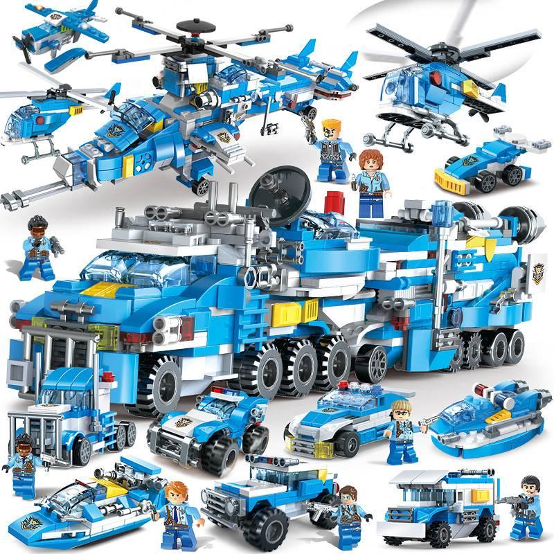 兼5容积木男孩子城市拼装6军事吃鸡儿童益玩具特警车10岁