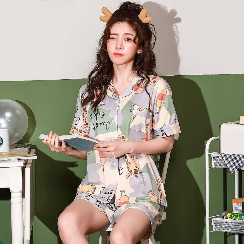 夏季女士短袖开衫睡衣加大码宽松卡通可爱薄款两件套装韩版家居服