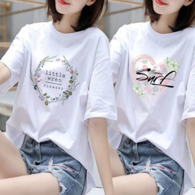 棉单件两件纯棉大码短袖t恤女夏装韩版胖mm宽松上衣女