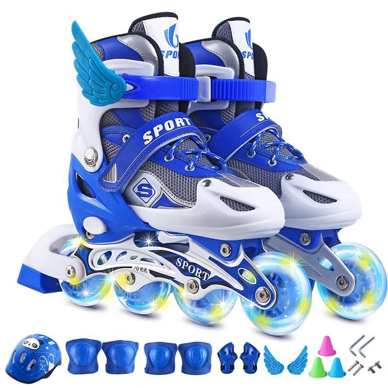 溜冰鞋儿童全套装3-5-6-8-10岁直排轮滑鞋旱冰鞋滑冰鞋男女初学者