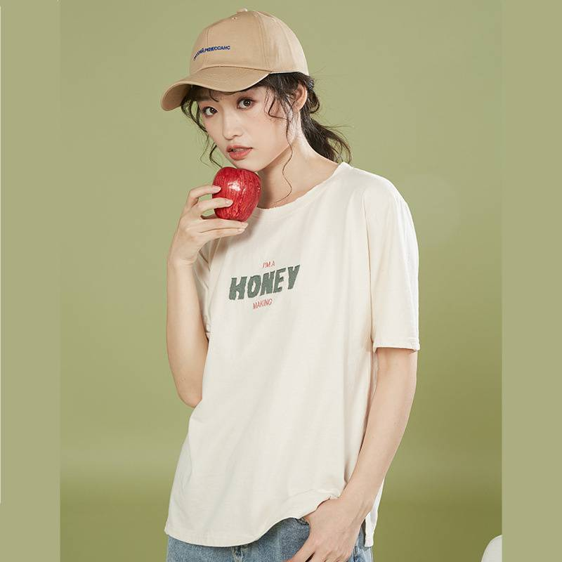 2020夏季女装新款宽松纯棉破洞t恤女韩版字母刺绣短袖1228174