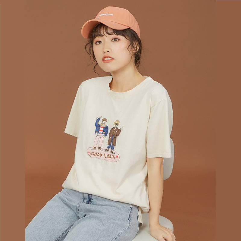新款女装_2020夏季新款女装圆领卡通t恤宽松纯棉短袖1228163