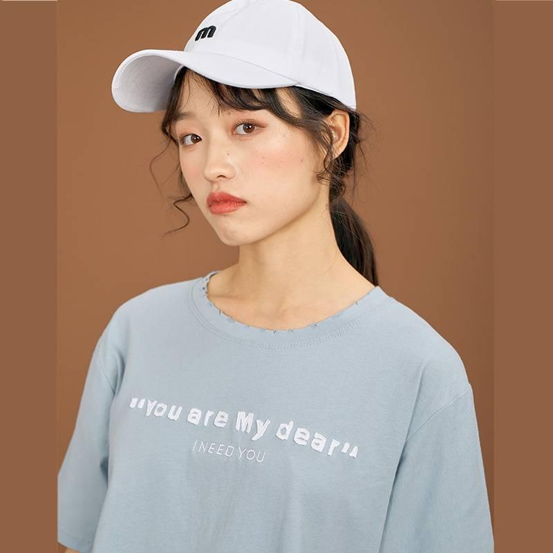 新款女装_纯棉t恤2020夏季新款女装宽松韩版字母刺绣女1265