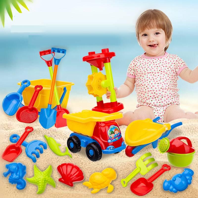儿童沙滩玩具套装宝宝戏水玩沙子大号沙漏铲子车桶工具决明子玩具