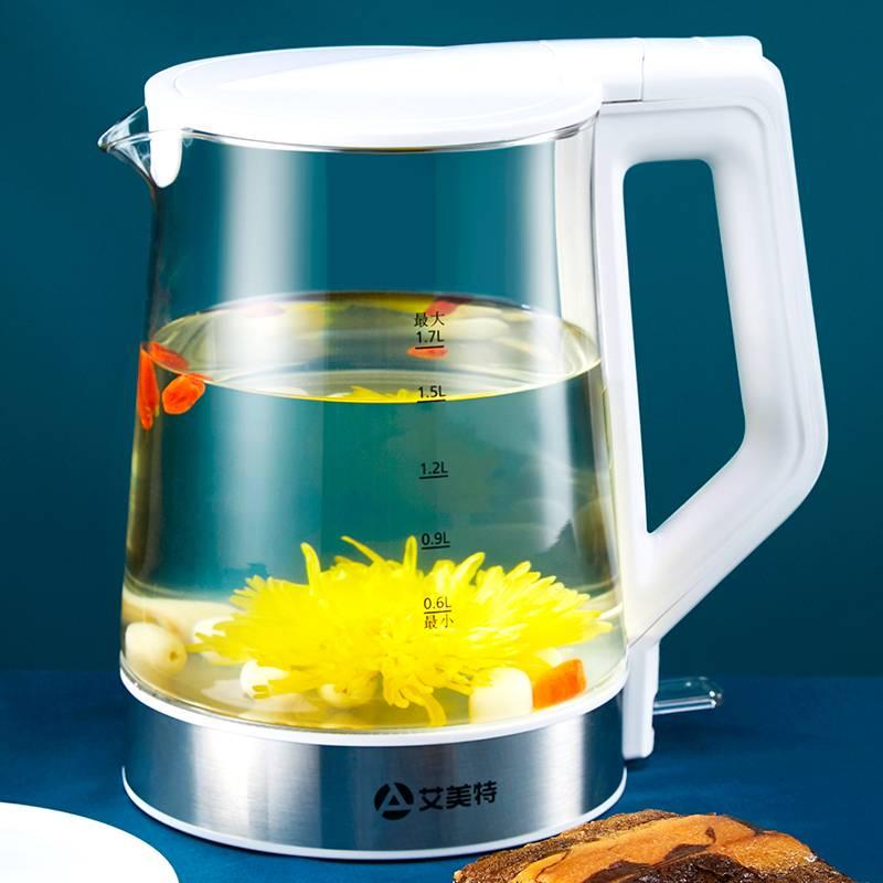 艾美特电热水壶家用不锈钢电热烧水壶自动断电大容量玻璃开水茶壶