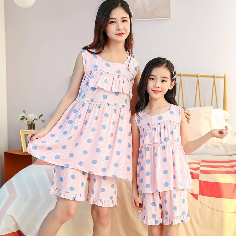 儿童睡衣女童夏季无袖薄款棉绸套装亲子装母女小孩夏天公主家居服