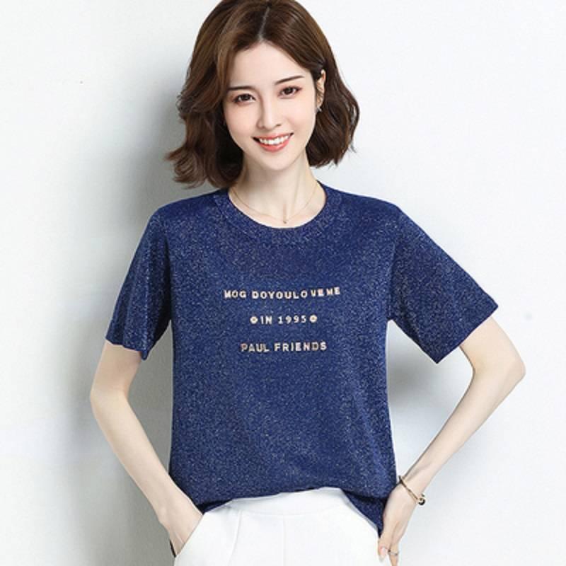 冰丝t恤女短袖宽松显瘦大码2020夏季新款洋气薄款亮丝天丝上衣女T
