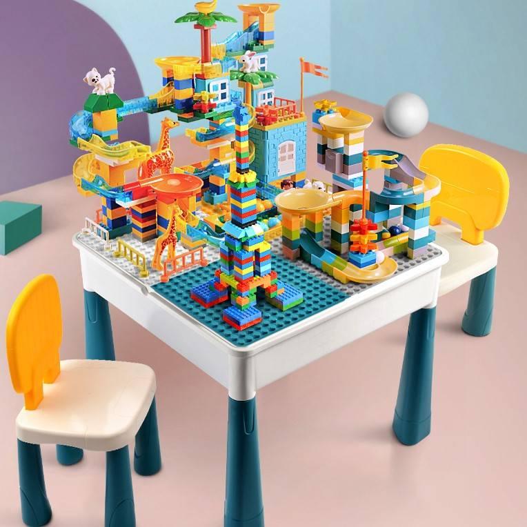 儿童大颗粒积木桌子多功能宝宝益智力拼装玩具男孩女孩2动脑3-6岁