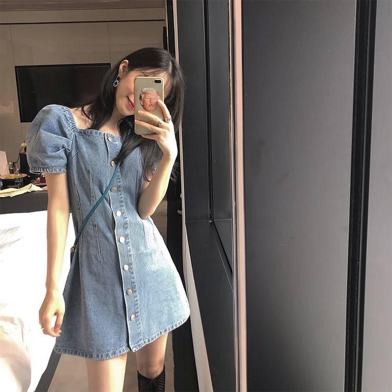 一字领露肩牛仔连衣裙2020春夏季新款收腰显瘦方领短裙女ins潮