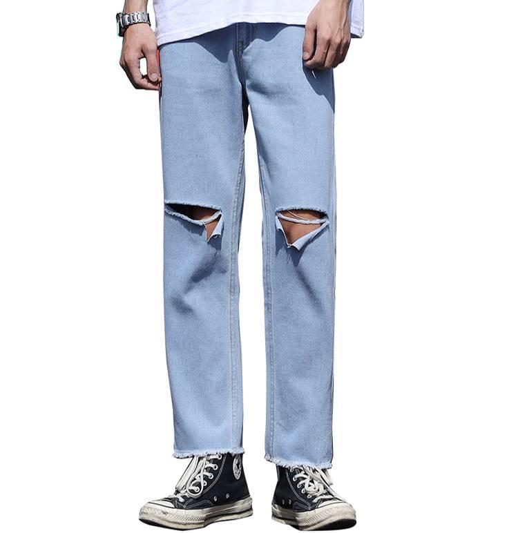 破洞牛仔裤男直筒宽松夏季夏天薄款阔腿九分裤潮牌男士百搭长裤子