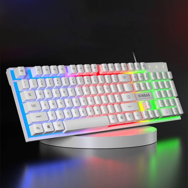 牧马人机械手感键盘台式电脑笔记本游戏办公USB有线鼠标键盘家用lol网吧电竞cf键鼠套装联想专用打字静音外接