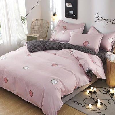夏季家纺芦荟棉四件套床上用品被套床单简约仿棉学生宿舍三件套