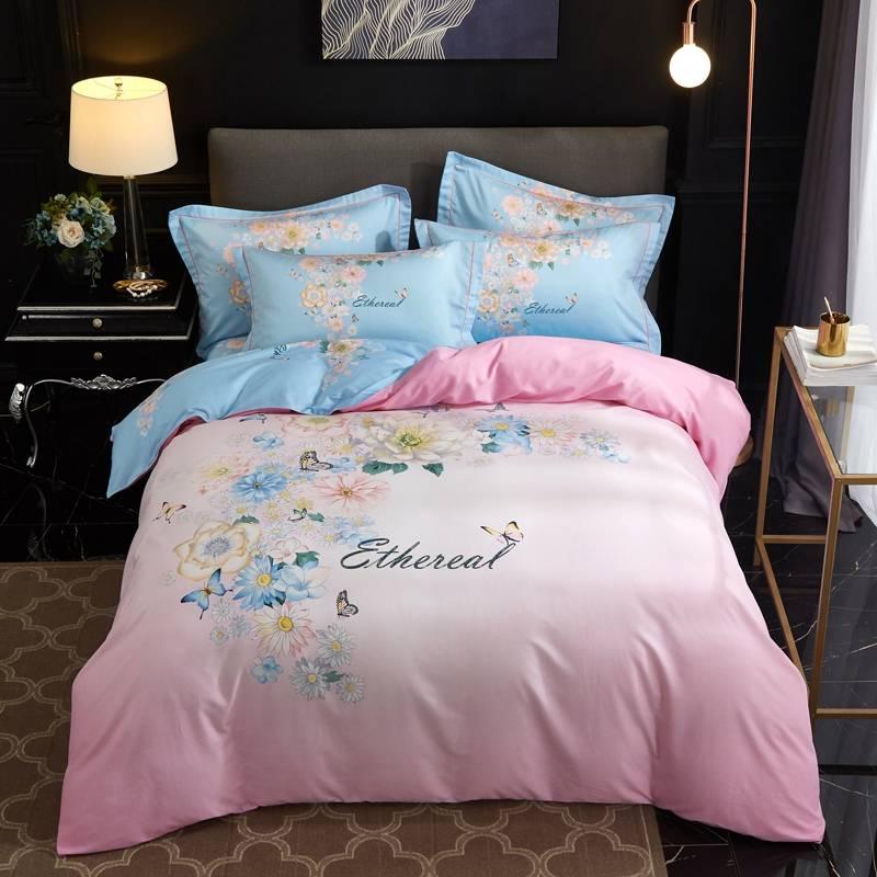 简约大版花全棉四件套1.5m\\\/1.8米床上用品活性印花纯棉套件不掉色