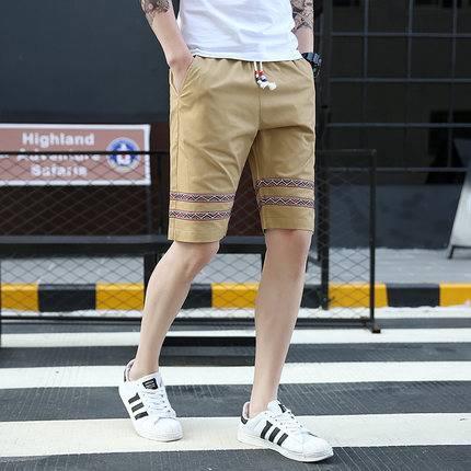 夏季舒适自在薄款刺绣微弹 男士抽绳松紧腰休闲百搭五分裤