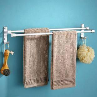 毛巾架浴室衛生間浴巾廚房置物掛架廁所太空鋁免打孔壁掛鉤單雙桿