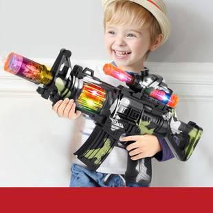 儿童宝宝迷彩电动玩具枪声光音乐小孩男孩枪投影冲锋枪2-3-6岁