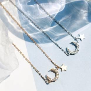 925纯银星月亮项链仙女小众品牌明星锁骨