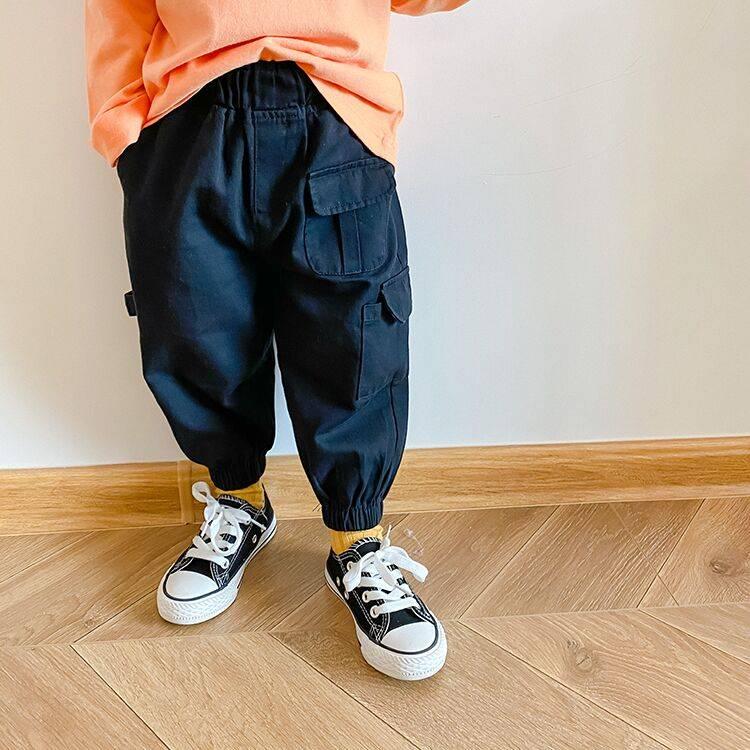 儿童工装裤男童秋装2020新款裤子宝宝洋气束脚休闲裤韩版宽松长裤