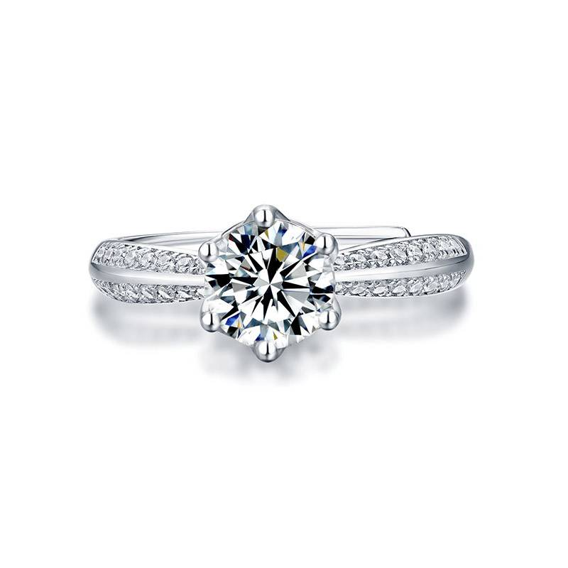 昂丽(饰品)七夕情人节男女款求婚礼物钻石对戒 可调节开口